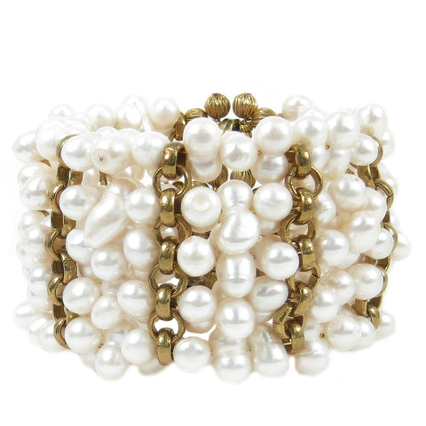 #816b Fresh Water Twin Pearl & Gold Tone Chain Cuff