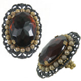 #817r Oversized Amber Cabochon, Brass Bead & Old Gold Tone Filigree Ring