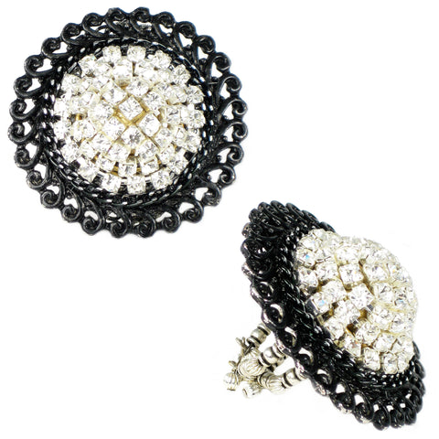 #820r Oversized Lacquered Black & Crystal Rhinestone Ring