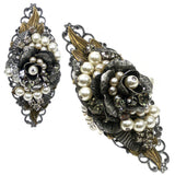 #830r Gunmetal & Old Gold Tone Filigree, Pearl & Rhinestone Floral Ring