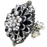 #831r Black Enamel & Crystal Rhinestone Floral & Filigree Ring