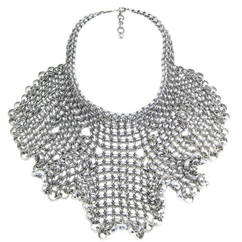 #845n Silver Tone Chain Mail Bib Necklace