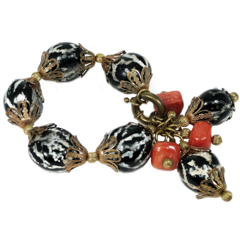 #849b Black/White Nut Shell, Agate & Gold Tone Filigree Bracelet With Tassel