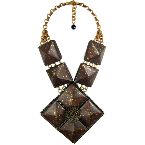 #859n Espresso & Gold Wood Tile Pendant Necklace With Jet Rhinestone