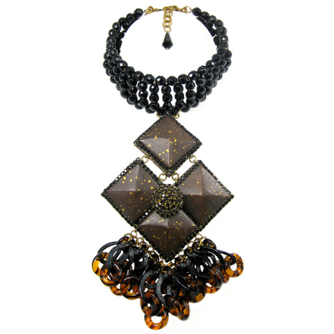 #861n Jet Bead Choker With Espresso/Gold Wood, Jet Rhinestone, & Chain Fringed Pendant