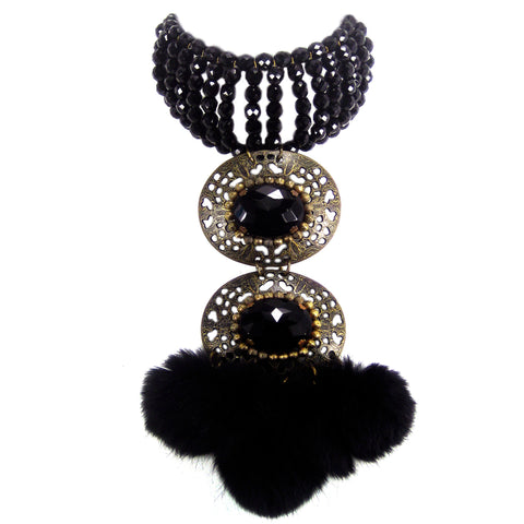#863n Jet Bead Choker With Old Gold, Jet Cabochon & Fur Tassel Pendant