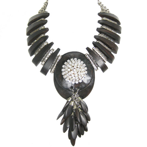 #866n Ebony Wood, Leather, Rhinestone & Gunmetal Necklace