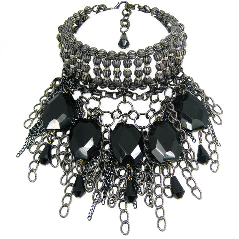 #870n Gunmetal, Jet & Rhinestone Choker/Bib Necklace With Chain Fringe