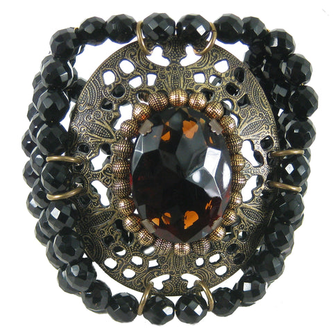 #877b Jet Bead Cuff Bracelet With Old Gold Filigree Medalian & Amber Cabochon