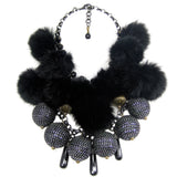 #877n Mixed Metal Bead, Jet Bead, Chain & Fur Pom Pom Bib Necklace