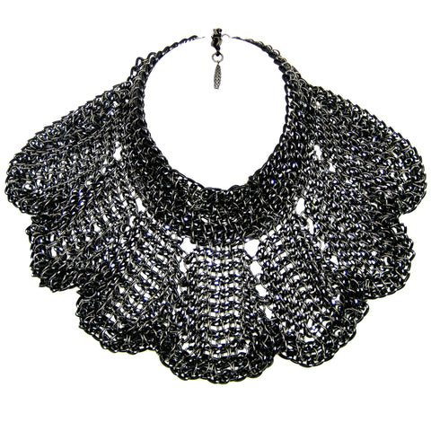 #879n Black/Silver Chain Mail Bib Necklace