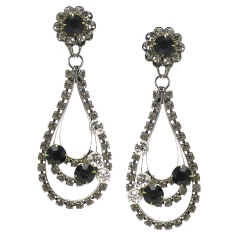 #882e Gunmetal Tone, Jet & Crystal Rhinestone Long Drop Earrings