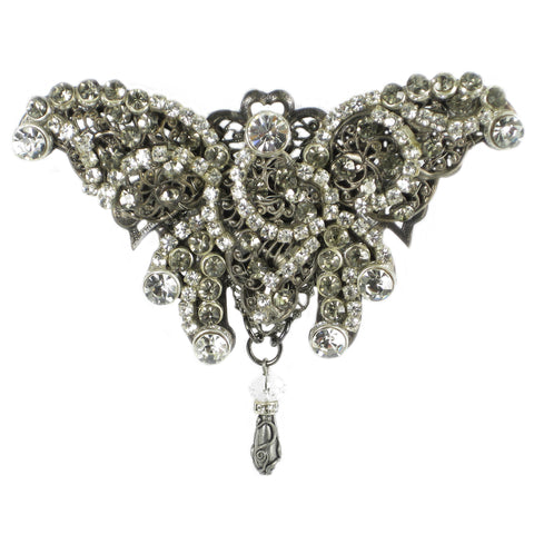 #882p Crystal Rhinestone & Silver Tone Filigree Butterfly Pin