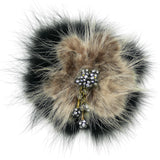 #883p Camel & Black Fur With Rhinestone Corsage Pin