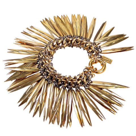 #884b Gold & Gunmetal Tone Chain Mail Rope Bracelet With Spikes