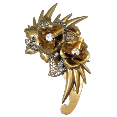 #884p Gold Tone & Rhinestone Floral Vintage Pin