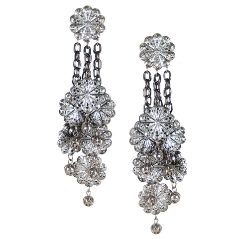 #885e Silver Tone Filigree & Chain Shoulder Duster Earrings