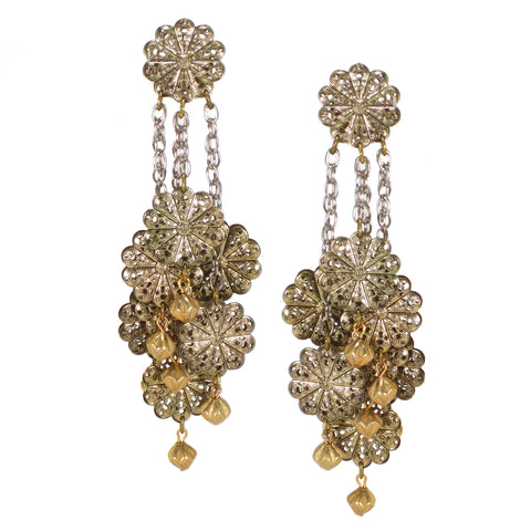 #886e Gold Tone Filigree & Chain Shoulder Duster Earrings