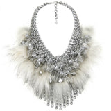 #886n Chainmail, Crystal & Fur Bib Necklace