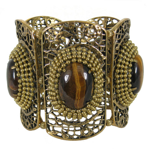 #890b Gold Filigree & Tiger Eye Cabochon Cuff Bracelet