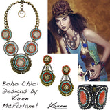 #1001n Old Brass Chain & Multi Color Medallion Necklace