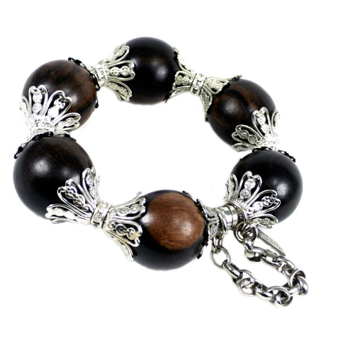 #894b Wood & Silver Tone Filigree Bangle Bracelet