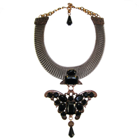 #895n Old Copper Tone Mesh Collar With Jet Glass Embellished Butterfly Pendant