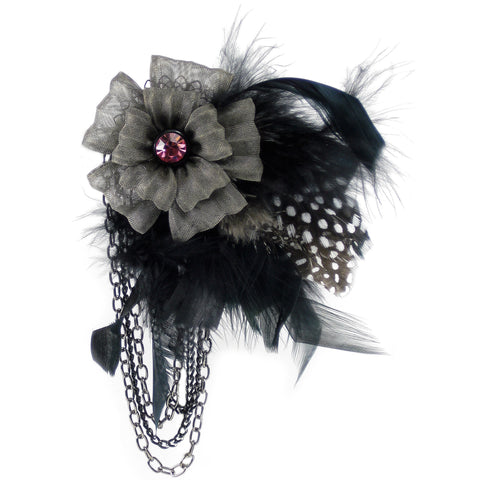 "#896p Gunmetal Flower, Feather,  Chain & Pink Rhinestone ""Corsage"" Pin"