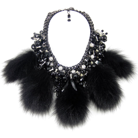 #897n Black Chainmaille, Jet Bead, Rhinestone & Black Fur Pom Pom Bib Necklace