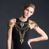 #900bj Old Gold Tone Chain Mail & Fring Body Jewellery With Choker, Epaulets & Bib
