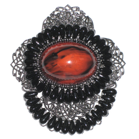 #900p Gunmetal Filigree, Red Cabochon & Black Bead Medallion Pin
