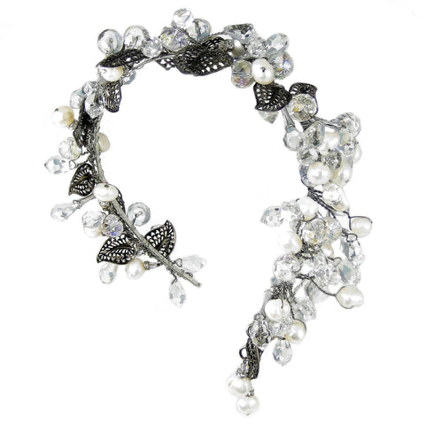 #901hp Gunmetal Filigree, Pearl. Rhinestone & Crystal Headpiece
