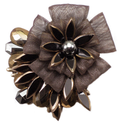 #901p Copper Tone, Black & Bronze Flower Corsage Pin
