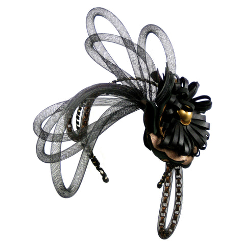 #904hp Bronze & Black Floral Headpiece