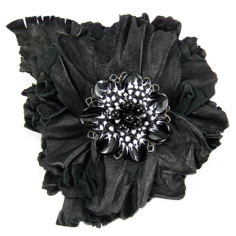 #904p Black Leather Flower Corsage Pin With White & Black Detail