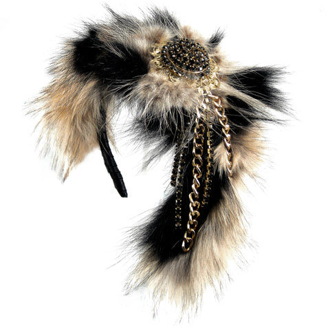 #905hp Dyed & Natural Fur Headpiece With Gold Tone Metal & Black Rhinestone Details
