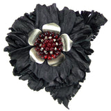 #905p Black Leather Flower With Red & Gunmetal Detail Corsage Pin