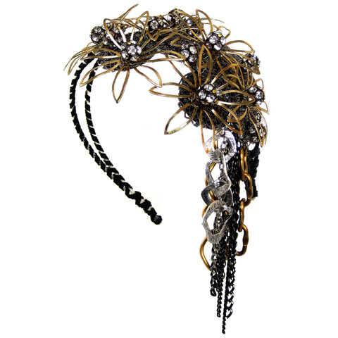 #906hp Gold, Silver & Black Metal & Rhinestone Floral Headpiece