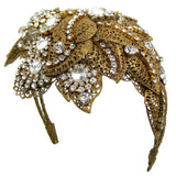 #907hp Old Gold Tone Filigree Leaf & Crystal Rhinestone Headpiece