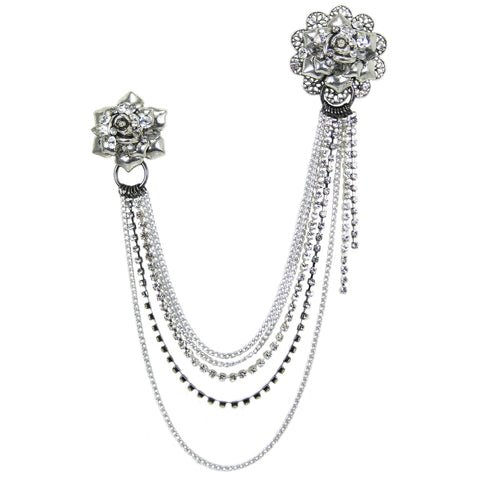 #909p Silver Tone & Rhinestone Flower & Chain Double Pin