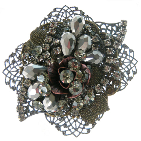 #911p Gunmetal Filigree, Old Gold & Copper Floral Pin With Rhinestone & Hematite Beads