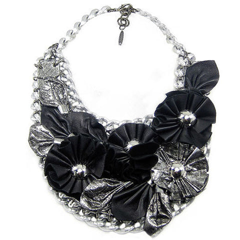 #914n Black/Silver Leather Flower & Chain Bib Necklace