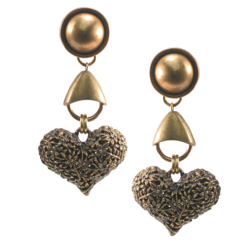 #924e Gold Floral Heart Drop Earrings