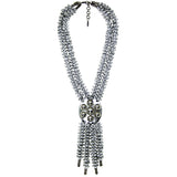 #926n Silver Deconstructed Chain Necklace With Fringed Leather & Metal Button Pendant