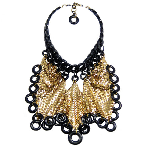#929n Black & Gold Tone Metal Mesh Bib Necklace With Ring Fringe