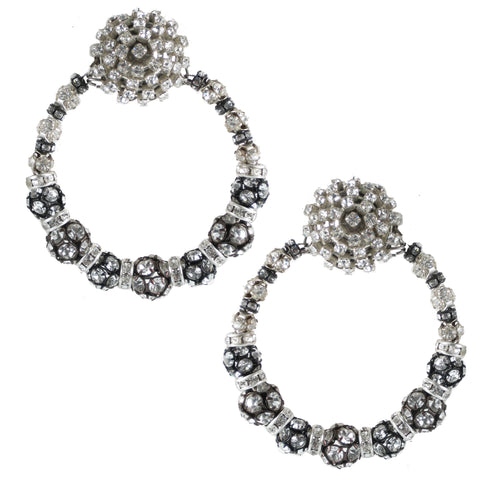 #932e Rhinestone Hoop Earrings With Button Top