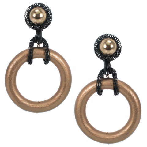 #936e Gold Tone Wood Hoop Earrings With Black Metal Mesh & Button Top