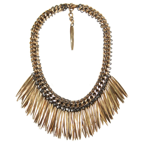 #943n Gold & Gunmetal Tone Chain Mail Rope Necklace With Spikes