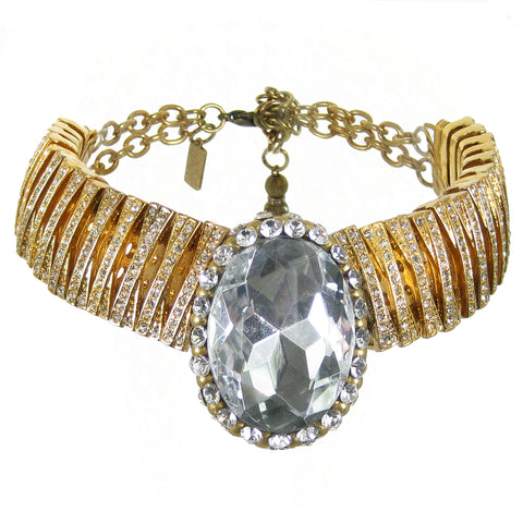 #944ng Gold Tone & Rhinestone Choker With Large Crystal Cabochon
