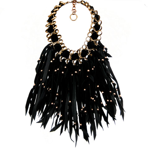 #945n Gold Tone & Suede Leather Fringed Bib Necklace